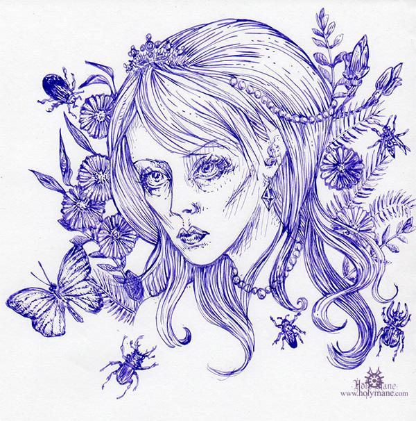 14-11_fillefleursinsectes3noiretblanc