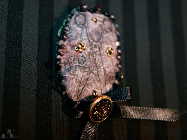 broche bijou unique ciseaux parme